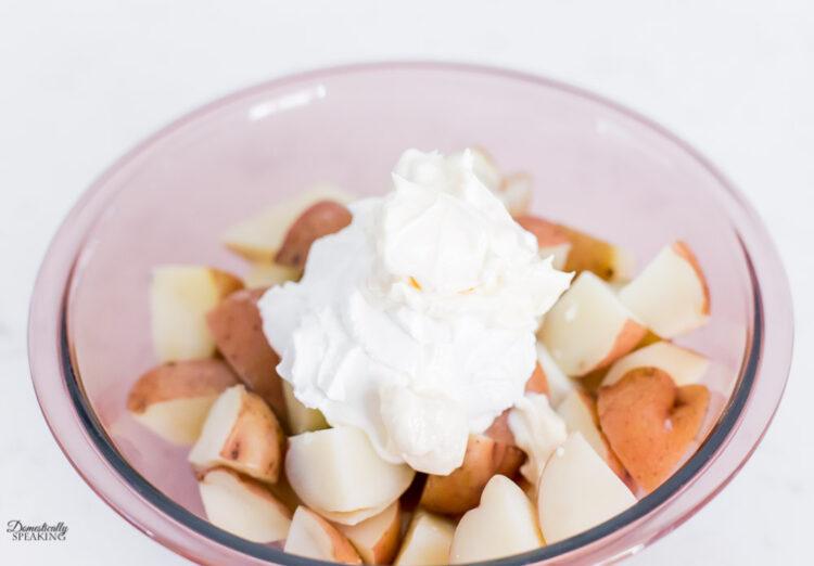 Adding mayo for loaded potato salad