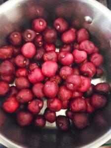 cherries in a pot