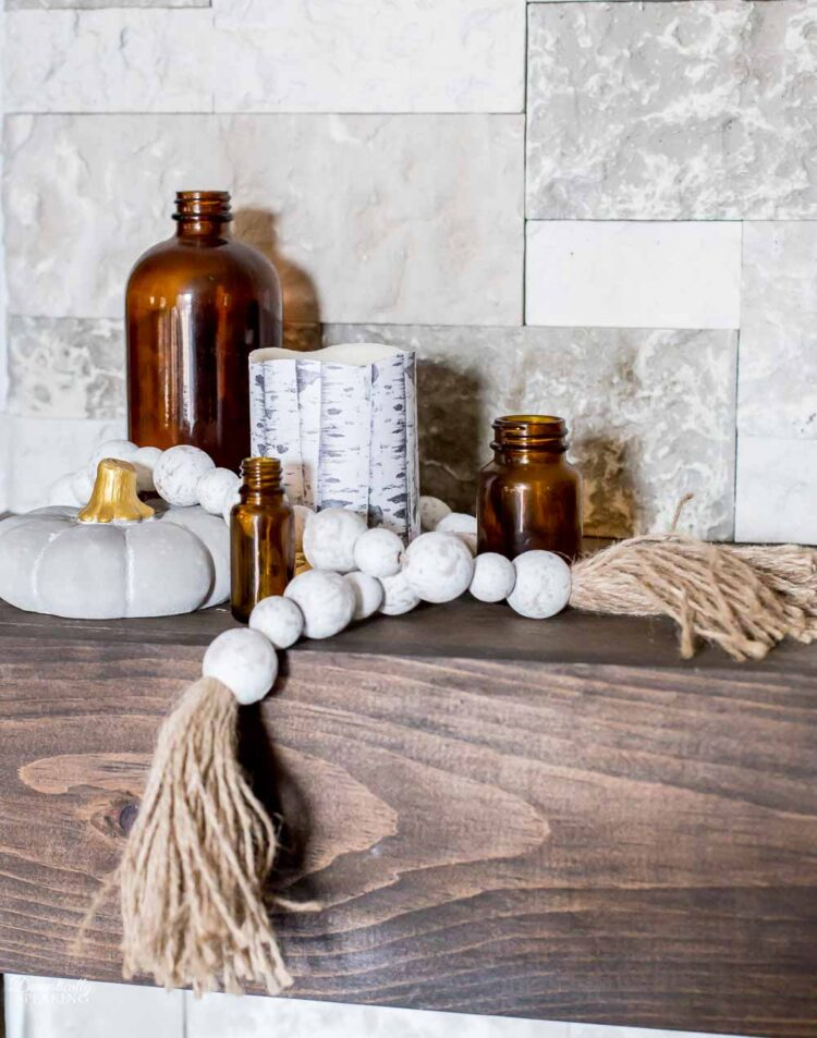 Fall Vignette with brown bottles