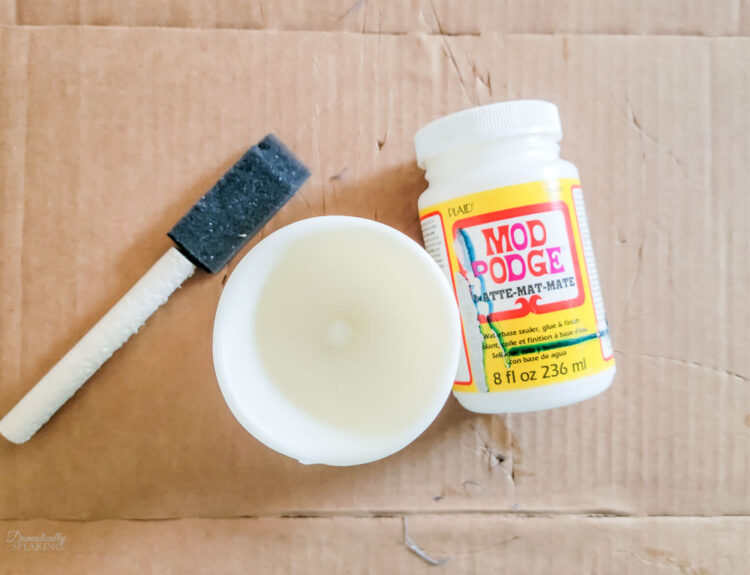 Mod Podge for the candle