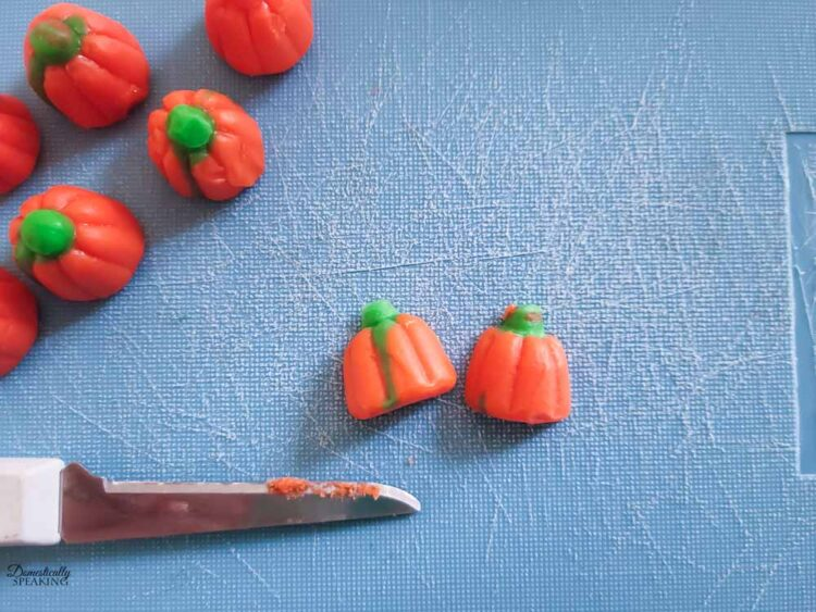 pumpkin candies cut in half