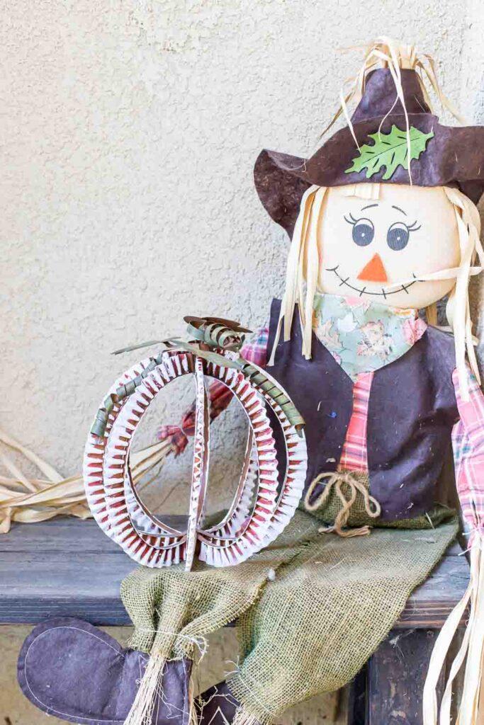 Metal Pumpkin and Scarecrow